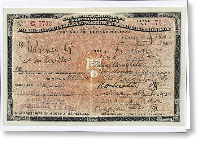 Medical Greeting Cards - Treasury Dept Prohibition Whiskey Prescription  1924 Greeting Card by Daniel Hagerman