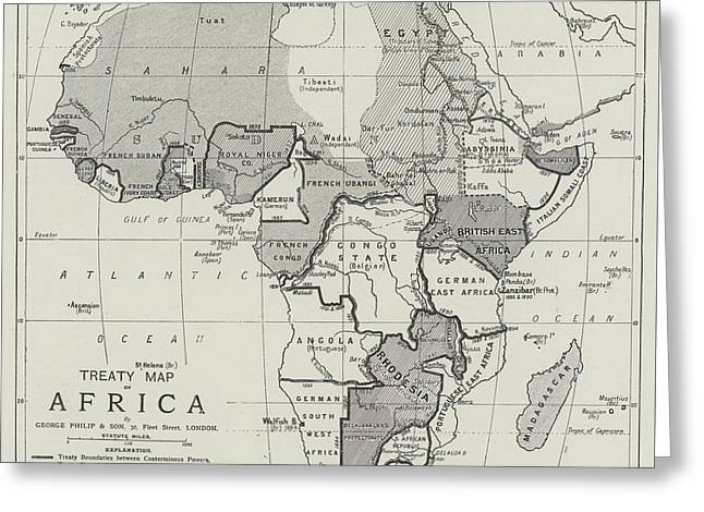 Treaty Map Of Africa Greeting Card by English School
