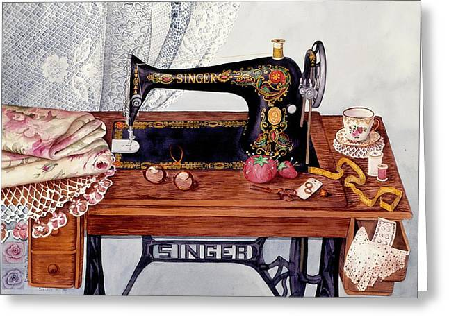Recently Sold -  - Victorian Greeting Cards - Tredle Sewing machine Greeting Card by Carol VonBurnum