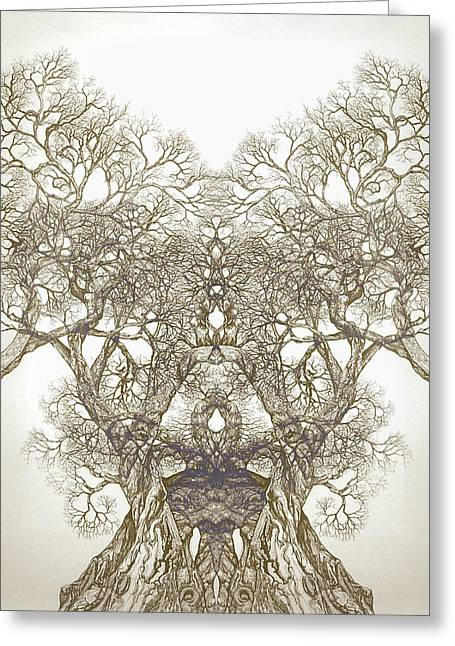 Abstract Digital Drawings Greeting Cards - Tree 20 Hybrid 1 Greeting Card by Brian  Kirchner
