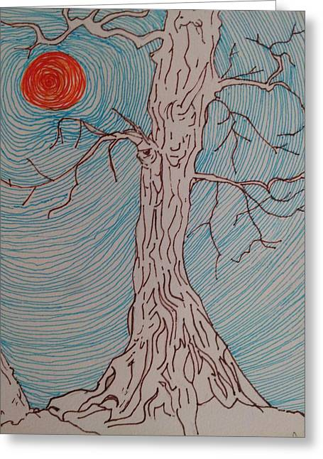 Tree Roots Drawings Greeting Cards - Tree 3 Greeting Card by William Douglas