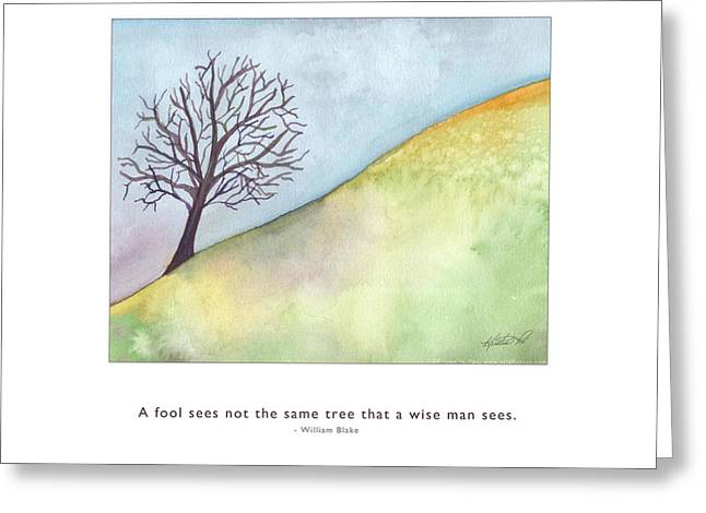 Metaphysics Paintings Greeting Cards - Tree A Wise Man Sees Greeting Card by Kristen Fox