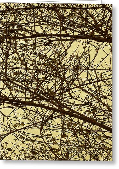 Tree Abstract In Yellow No 2 Greeting Card by Ben and Raisa Gertsberg