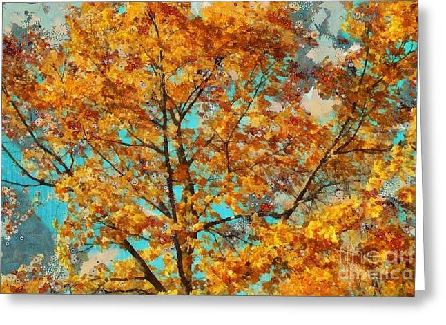 Brown Leaves Greeting Cards - Tree Art 03 - tl-k0111 Greeting Card by Variance Collections