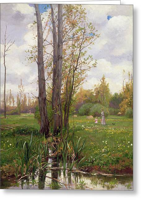 Spring Scenes Greeting Cards - Tree Beside Water  Greeting Card by Ernest Le Villain