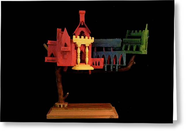 Color Green Sculptures Greeting Cards - Tree Castle Greeting Card by Caleb Rogers