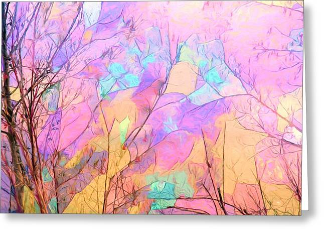 Hallucination Greeting Cards - Tree Dance Greeting Card by Kathy Bassett