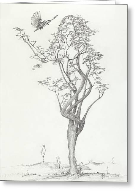 Fall Trees Drawings Greeting Cards - Tree Dancer in Flight Greeting Card by Mark Johnson