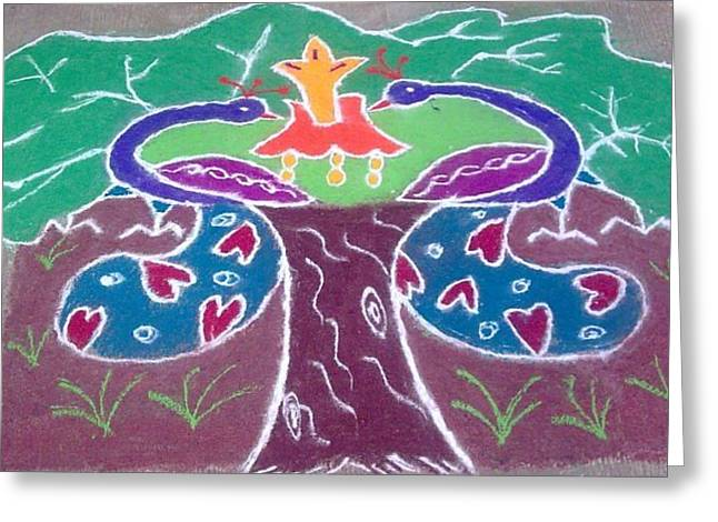 Amazing Ceramics Greeting Cards - Tree Design Greeting Card by Joni Mazumder