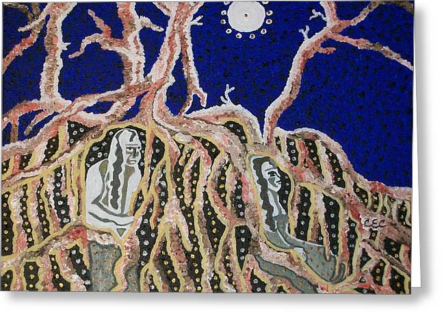 Tree Roots Paintings Greeting Cards - Tree Dwellers Greeting Card by Carolyn Cable
