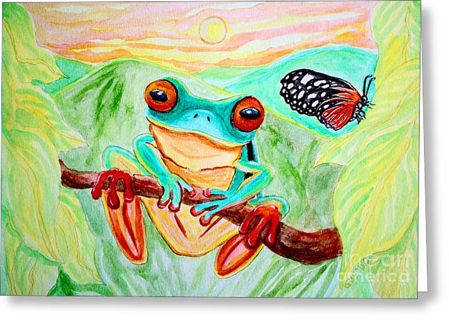 Tree Frog Greeting Cards - Tree Frog and Butterfly Greeting Card by Nick Gustafson