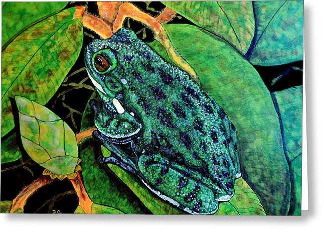 Tree Frog Greeting Card by Debbie Chamberlin