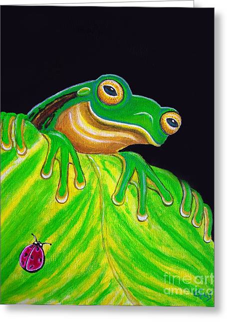 Frogs Greeting Cards - Tree Frog on a leaf with lady bug Greeting Card by Nick Gustafson