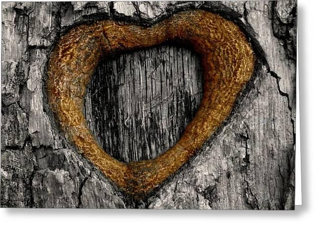 Tree Graffiti Heart Greeting Card by Chris Berry