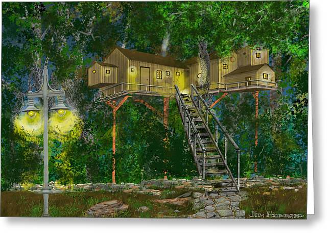 Tree House #10 Greeting Card by Jim Hubbard