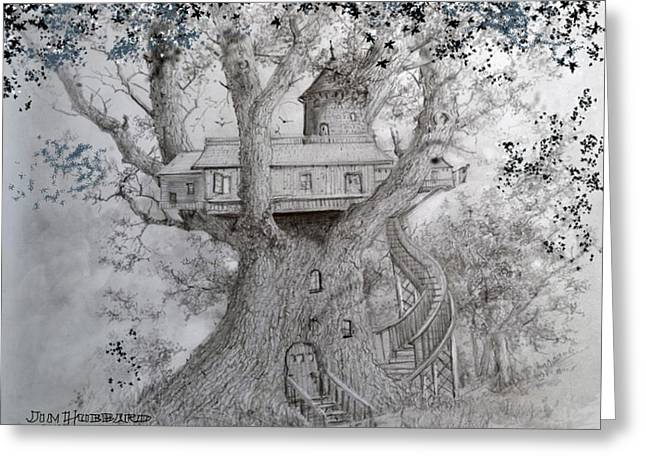Tree House #2 Greeting Card by Jim Hubbard
