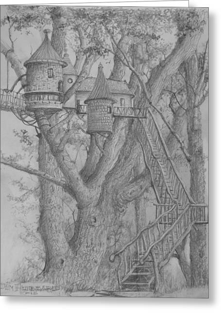 Tree House #3 Greeting Card by Jim Hubbard