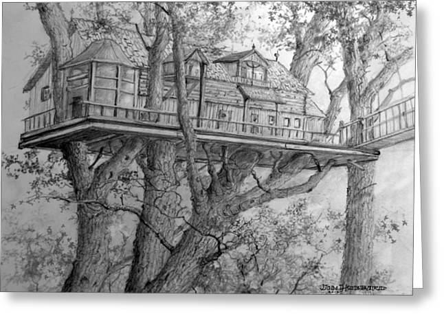 Tree House #4 Greeting Card by Jim Hubbard