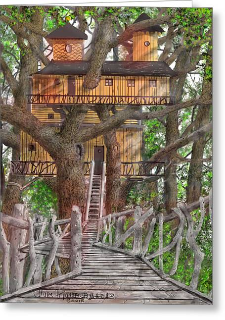 Tree House #6 Greeting Card by Jim Hubbard