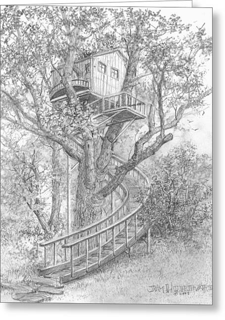 Tree House #7 Greeting Card by Jim Hubbard