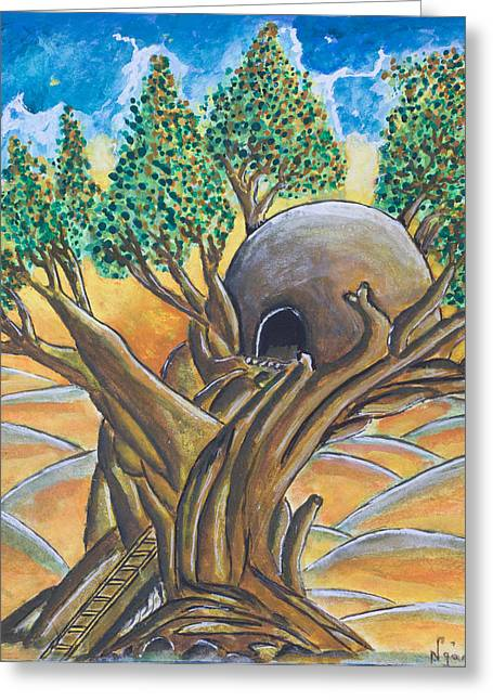 African Huts Greeting Cards - Tree House Greeting Card by Ken Nganga