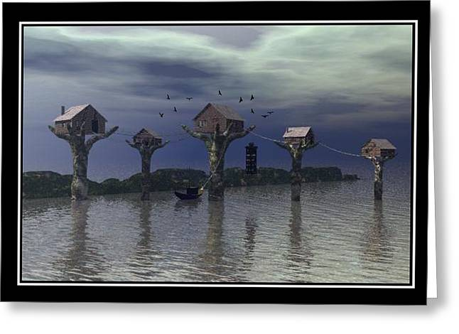 Best Sellers -  - Storm Prints Digital Art Greeting Cards - Tree Houses in the sea Greeting Card by William  Ballester