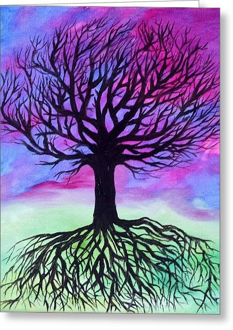 Tree Roots Paintings Greeting Cards - Tree in Fantasy Greeting Card by Mandy Harpt