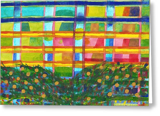 Geometric Art Greeting Cards - Tree in Front of a Building Greeting Card by Heidi Capitaine