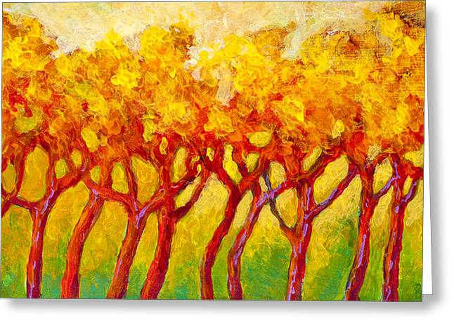 Autumn Art Greeting Cards - Tree Line Greeting Card by Marion Rose