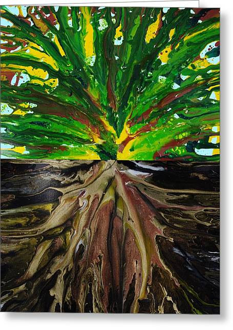 Tree Roots Paintings Greeting Cards - Tree Greeting Card by Lori Kingston