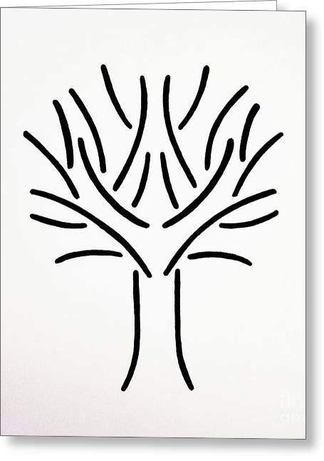 Tree Roots Drawings Greeting Cards - Tree Greeting Card by Magi Hast