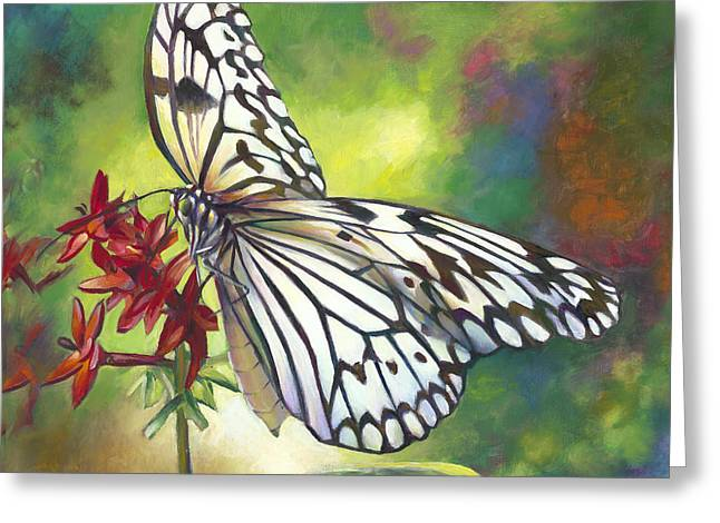 Blue And Red Paintings Greeting Cards - Tree Nymph Butterfly Greeting Card by Nancy Tilles