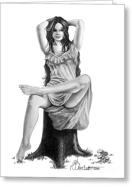 Figure Drawing Greeting Cards - Tree Nymph Greeting Card by Murphy Elliott