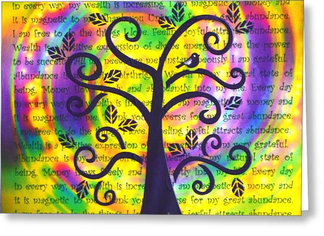 Attract Wealth Greeting Cards - Tree of Abundance Greeting Card by Agata Lindquist