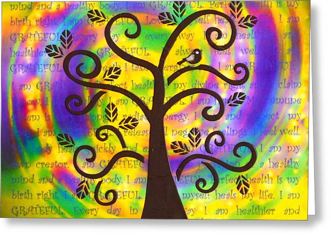 Attract Health Greeting Cards - Tree of Health and Gratitude Greeting Card by Agata Lindquist