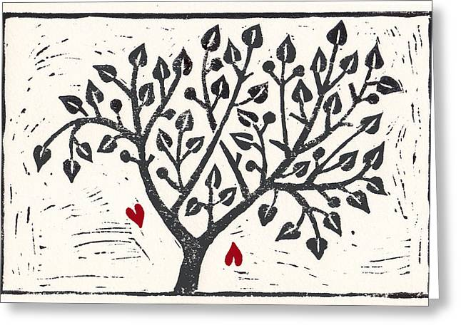 Lino Mixed Media Greeting Cards - Tree of hearts Greeting Card by Joke Boudens