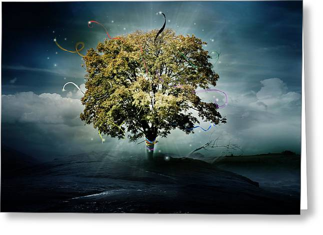 New Year Greeting Cards - Tree of Hope Greeting Card by Karen K