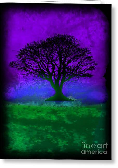 Splashy Mixed Media Greeting Cards - Tree of Life - Purple Sky Greeting Card by Robert R Splashy Art