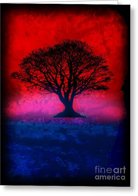 Splashy Mixed Media Greeting Cards - Tree of Life - Red Sky Greeting Card by Robert R Splashy Art