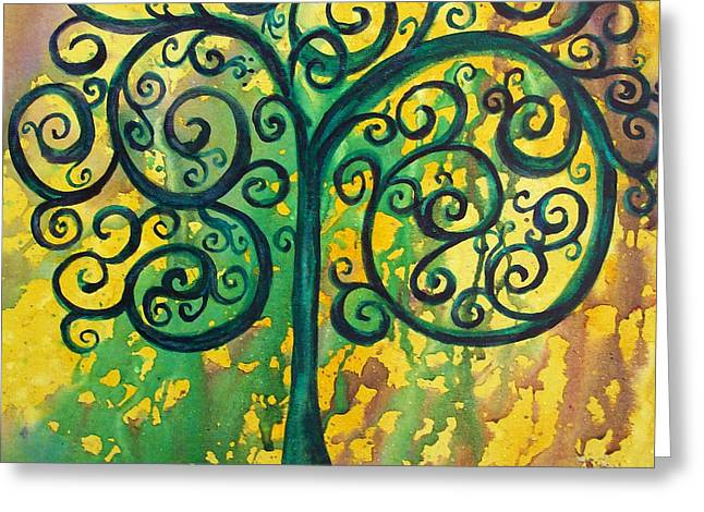 Watery Greeting Cards - Tree of Life - Yellow Green Greeting Card by Christy  Freeman