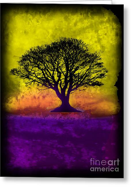 Splashy Mixed Media Greeting Cards - Tree of Life - Yellow Sunburst Sky Greeting Card by Robert R Splashy Art