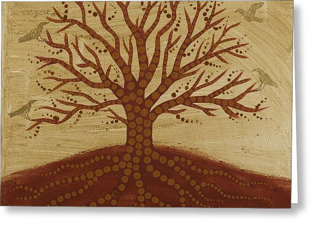 Tree Roots Greeting Cards - Tree of Life 3 Greeting Card by Sophy White