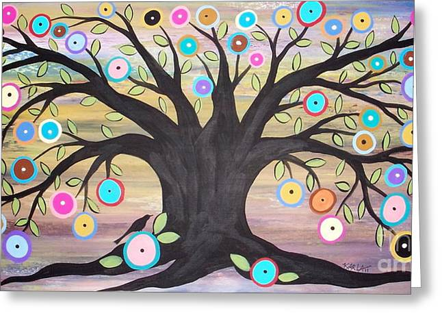 Tree Of Life And Bird Greeting Card by Karla Gerard