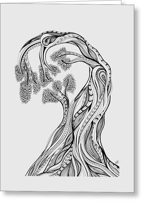 Tree Lines Mixed Media Greeting Cards - Tree of Life Graphic Greeting Card by Melissa Smith