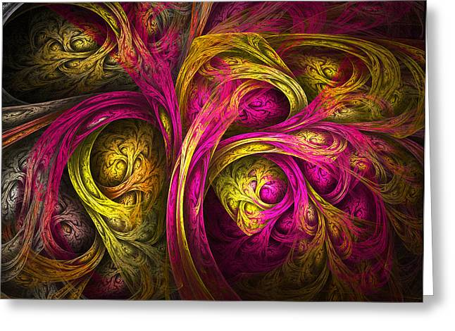 Tree Of Life In Pink And Yellow Greeting Card by Tammy Wetzel