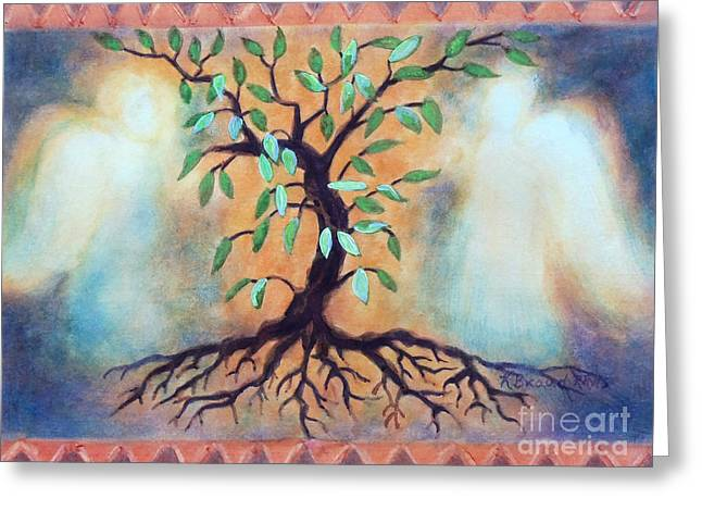 Many Mixed Media Greeting Cards - Tree of Life Greeting Card by Kathy Braud