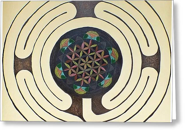 Metaphysics Greeting Cards - Tree of Life Labyrinth Greeting Card by Folade Speaks