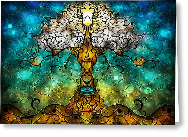 Menorah Greeting Cards - Tree of Life Greeting Card by Mandie Manzano