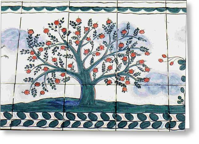 Ceramic Ceramics Greeting Cards - Tree of Life--Portuguese Folk Art Style Greeting Card by Dy Witt