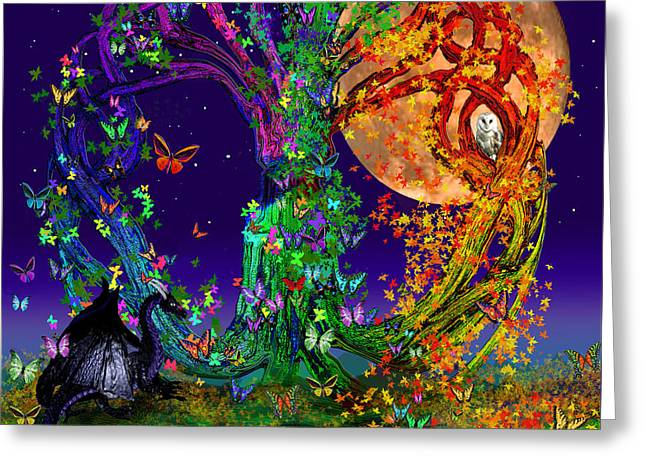 Harvest Art Greeting Cards - Tree Of Life With Owl and Dragon Greeting Card by Michele  Avanti